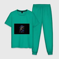 Пижама хлопковая мужская Настроить жнецов цвета зеленый — фото 1