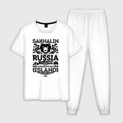 Пижама хлопковая мужская Сахалин Остров Экстрим цвета белый — фото 1