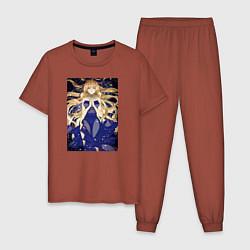 Пижама хлопковая мужская Кохаку Доктор Стоун цвета кирпичный — фото 1