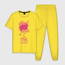 Пижама хлопковая мужская Pink paradise цвета желтый — фото 1