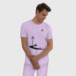 Пижама хлопковая мужская Одиночество длинной дистанции цвета лаванда — фото 2
