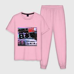 Пижама хлопковая мужская JDM цвета светло-розовый — фото 1