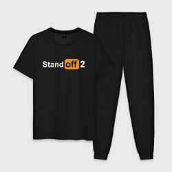 Пижама хлопковая мужская STANDOFF 2 PORNHUB цвета черный — фото 1