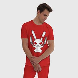 Пижама хлопковая мужская Зайка с ножами цвета красный — фото 2