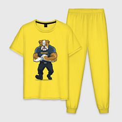 Пижама хлопковая мужская ПИТБУЛЬ SECURITY Z цвета желтый — фото 1