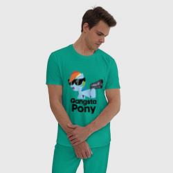 Пижама хлопковая мужская Gangsta pony цвета зеленый — фото 2