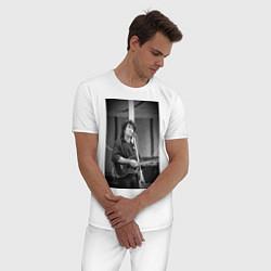Пижама хлопковая мужская Цой кино цвета белый — фото 2