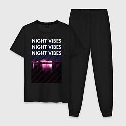 Пижама хлопковая мужская Ночная гладь цвета черный — фото 1
