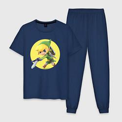 Пижама хлопковая мужская Линк цвета тёмно-синий — фото 1