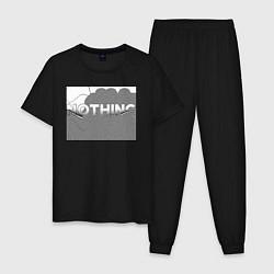 Пижама хлопковая мужская NOTHING цвета черный — фото 1