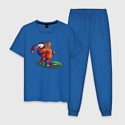 Пижама хлопковая мужская Лев Сноубордист Lion Snowboard цвета синий — фото 1