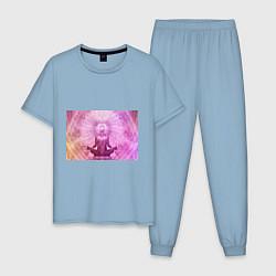 Пижама хлопковая мужская Mind цвета мягкое небо — фото 1