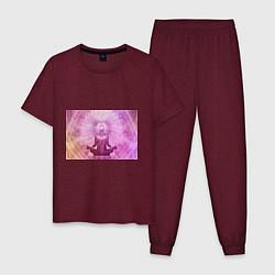 Пижама хлопковая мужская Mind цвета меланж-бордовый — фото 1