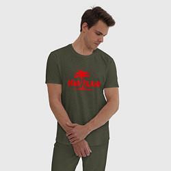 Пижама хлопковая мужская Dead island цвета меланж-хаки — фото 2
