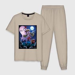 Пижама хлопковая мужская Wendy love flower цвета миндальный — фото 1