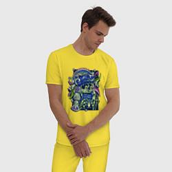 Пижама хлопковая мужская Воин Ацтек - Aztec Warrior цвета желтый — фото 2