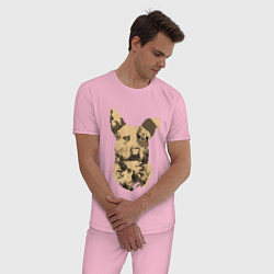 Пижама хлопковая мужская FC5: Бумер цвета светло-розовый — фото 2