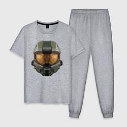 Пижама хлопковая мужская Halo Шлем Мастера Чифа цвета меланж — фото 1