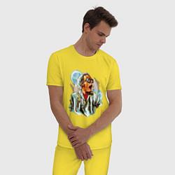 Пижама хлопковая мужская Dr Brown цвета желтый — фото 2
