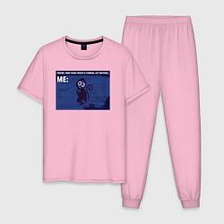 Пижама хлопковая мужская Your crush is comming цвета светло-розовый — фото 1