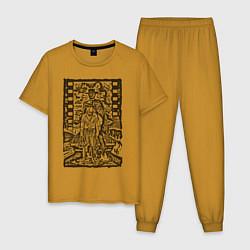 Пижама хлопковая мужская Filmstrip цвета горчичный — фото 1