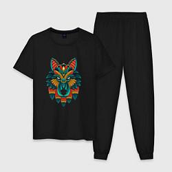 Пижама хлопковая мужская Серьезный волк орнамент цвета черный — фото 1