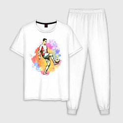 Пижама хлопковая мужская Роналду 07 Сборная Португалии цвета белый — фото 1