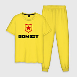 Пижама хлопковая мужская Gambit цвета желтый — фото 1