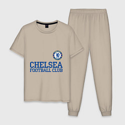 Пижама хлопковая мужская Chelsea FC: Blue цвета миндальный — фото 1