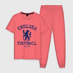 Пижама хлопковая мужская Chelsea FC: Lion цвета коралловый — фото 1