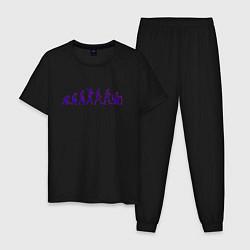 Пижама хлопковая мужская Эволюция Програмиста цвета черный — фото 1