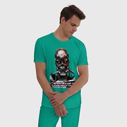 Пижама хлопковая мужская Terminator T-800 цвета зеленый — фото 2