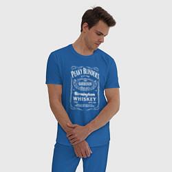 Пижама хлопковая мужская Острые козырьки этикетка Виски цвета синий — фото 2