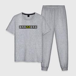 Пижама хлопковая мужская Brazzers цвета меланж — фото 1