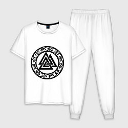 Пижама хлопковая мужская Валькнут - символ Одина цвета белый — фото 1
