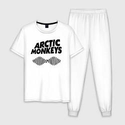 Пижама хлопковая мужская Arctic Monkeys цвета белый — фото 1