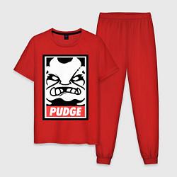 Пижама хлопковая мужская Pudge Poster цвета красный — фото 1