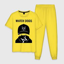 Пижама хлопковая мужская You will be Hacker цвета желтый — фото 1
