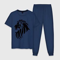 Пижама хлопковая мужская Лев тату цвета тёмно-синий — фото 1