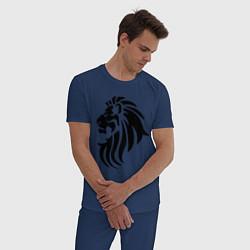 Пижама хлопковая мужская Лев тату цвета тёмно-синий — фото 2