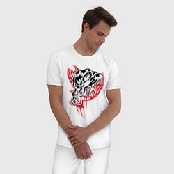 Пижама хлопковая мужская Свирепый оборотень цвета белый — фото 2