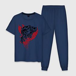 Пижама хлопковая мужская Свирепый оборотень цвета тёмно-синий — фото 1