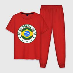 Пижама хлопковая мужская Brazil 2014 цвета красный — фото 1