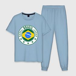 Пижама хлопковая мужская Brazil 2014 цвета мягкое небо — фото 1