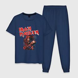 Пижама хлопковая мужская Iron Maiden цвета тёмно-синий — фото 1