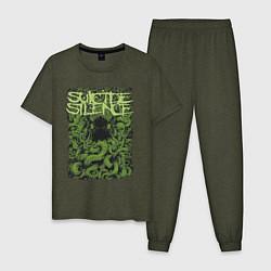 Пижама хлопковая мужская Suicide Silence цвета меланж-хаки — фото 1