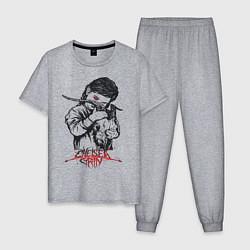 Пижама хлопковая мужская Chelsea Grin: Demon Girl цвета меланж — фото 1
