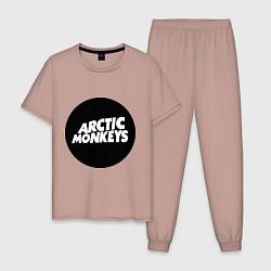 Пижама хлопковая мужская Arctic Monkeys Round цвета пыльно-розовый — фото 1