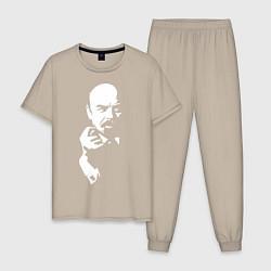 Пижама хлопковая мужская Ленин: фигу вам цвета миндальный — фото 1