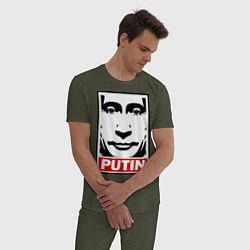 Пижама хлопковая мужская Putin Obey цвета меланж-хаки — фото 2